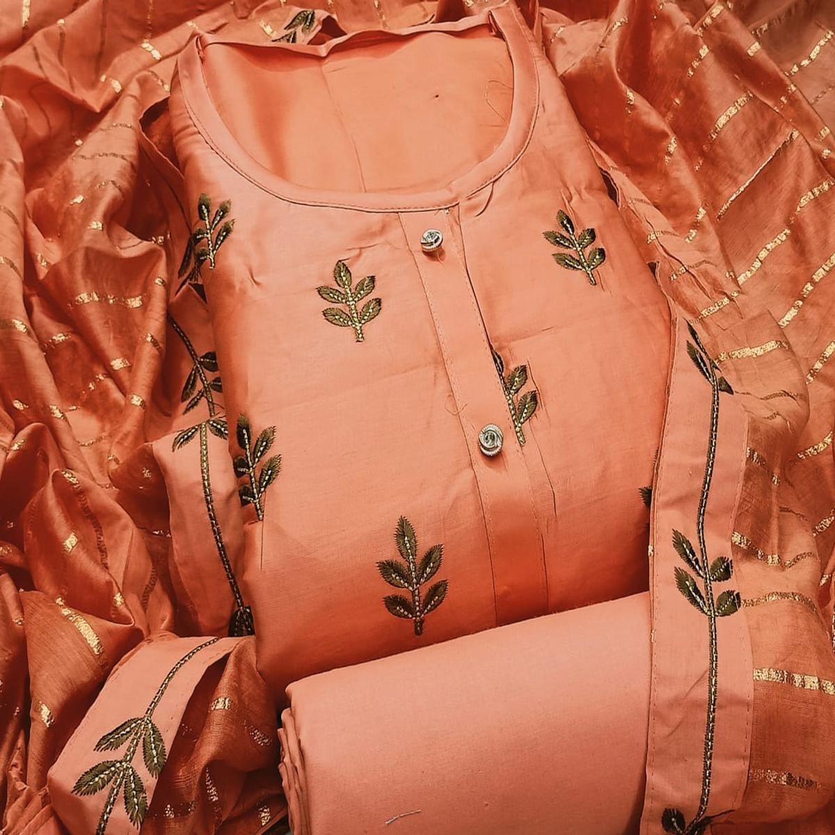 Jazzy Peach Colored Partywear Embroidered Cotton Dress Material