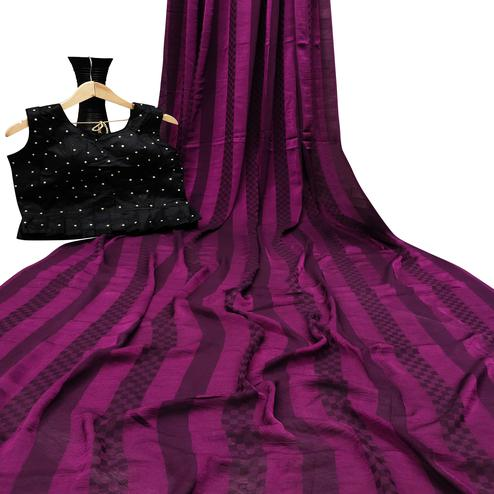 Delightful Dark Purple Colored Partywear Printed Brasso Saree