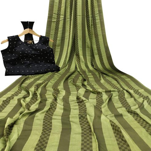 Engrossing Green Colored Partywear Printed Brasso Saree
