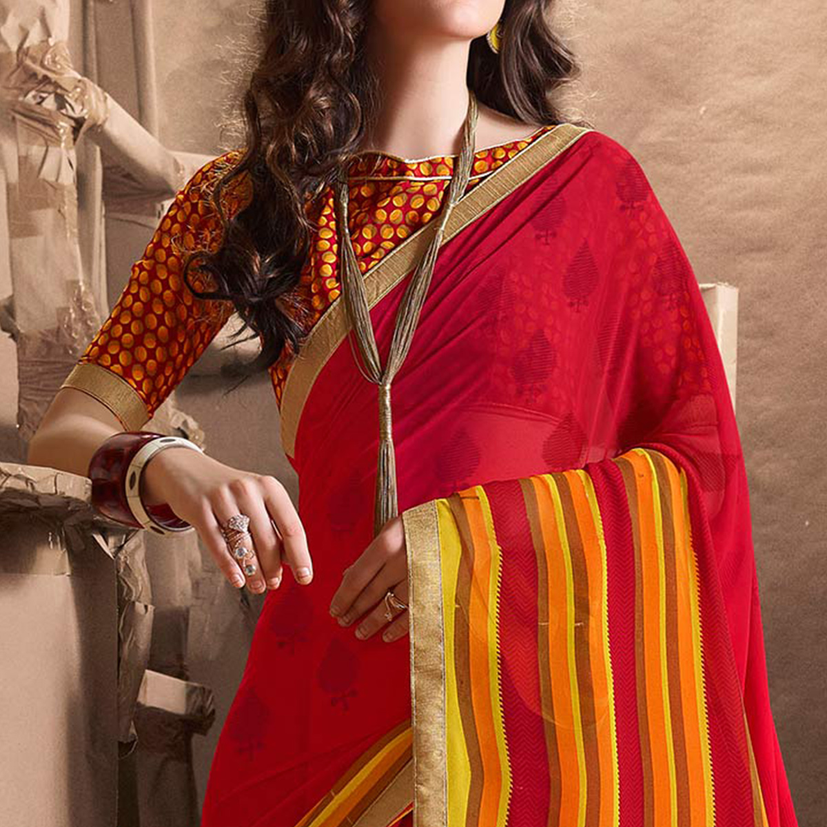 Graceful Red Designer Digital Printed Georgette Saree
