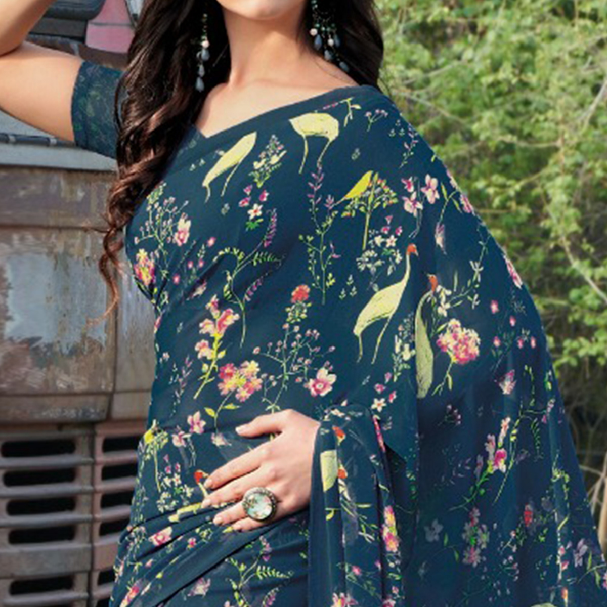 Ideal Blue Colored Casual Wear Floral Printed Gerogette Saree