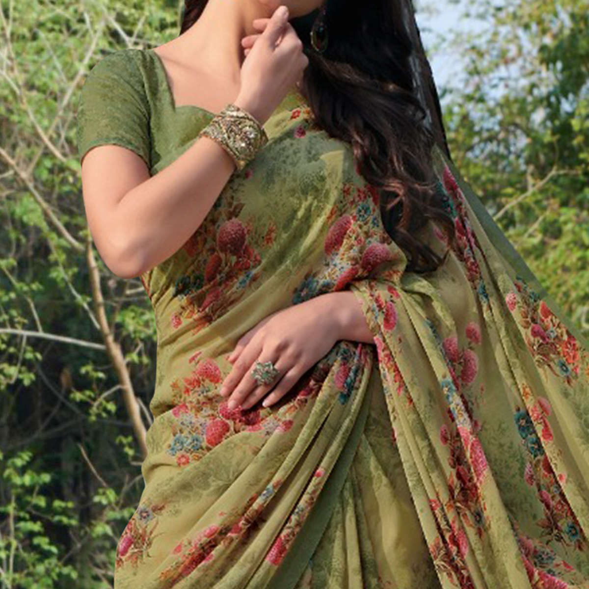 Imposing Mehendi Green Colored Casual Wear Floral Printed Gerogette Saree