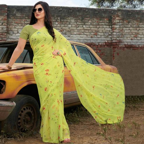 Lovely Lemon Green Colored Casual Wear Floral Printed Gerogette Saree