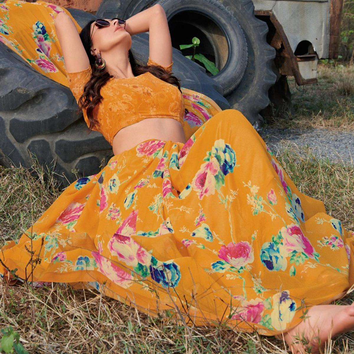 Majesty Mustard Yellow Colored Casual Wear Floral Printed Gerogette Saree