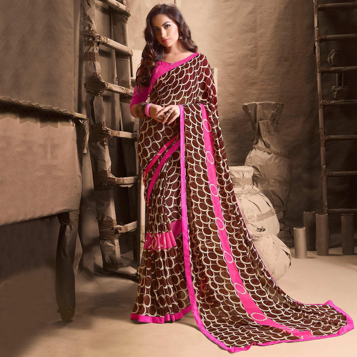 Mesmerising Brown Designer Digital Printed Georgette Saree