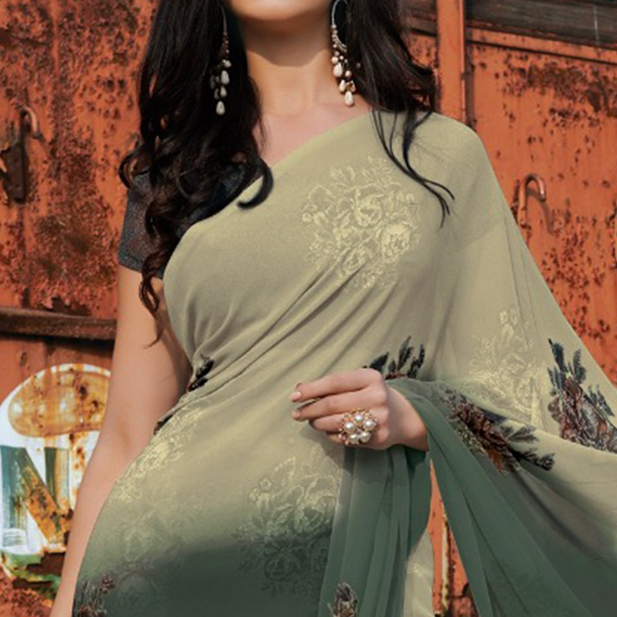 Pleasance Chikoo Grey Colored Casual Wear Floral Printed Gerogette Saree