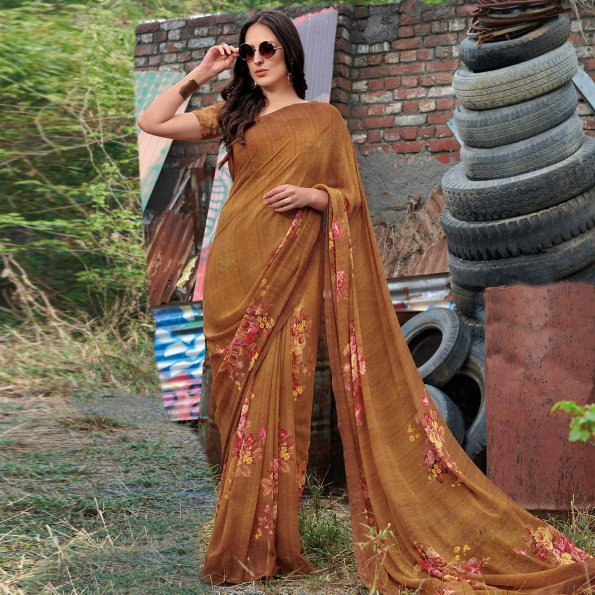 Dazzling Brown Colored Casual Wear Floral Printed Gerogette Saree