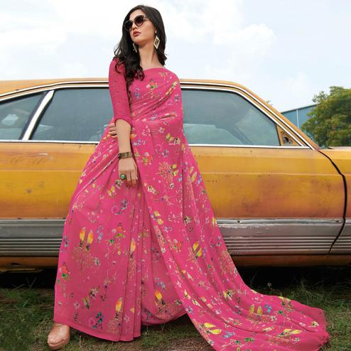 Surpassing Pink Colored Casual Wear Floral Printed Gerogette Saree