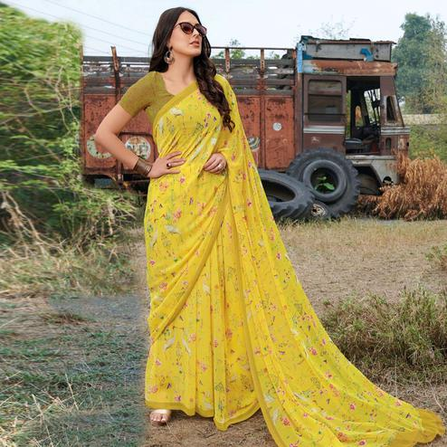 Intricate Yellow Colored Casual Wear Floral Printed Gerogette Saree