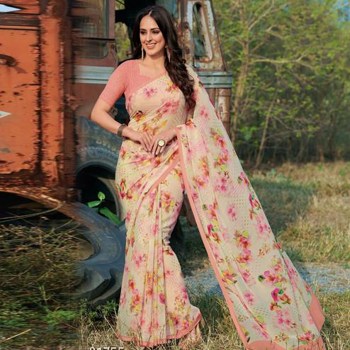 Arresting Peach - White Colored Casual Wear Floral Printed Gerogette Saree'