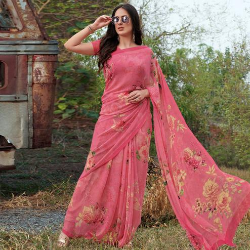 Desirable Gajari Pink Colored Casual Wear Floral Printed Gerogette Saree