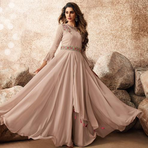 Exotic Beige Colored Designer Partywear Embroidered Georgette Gown