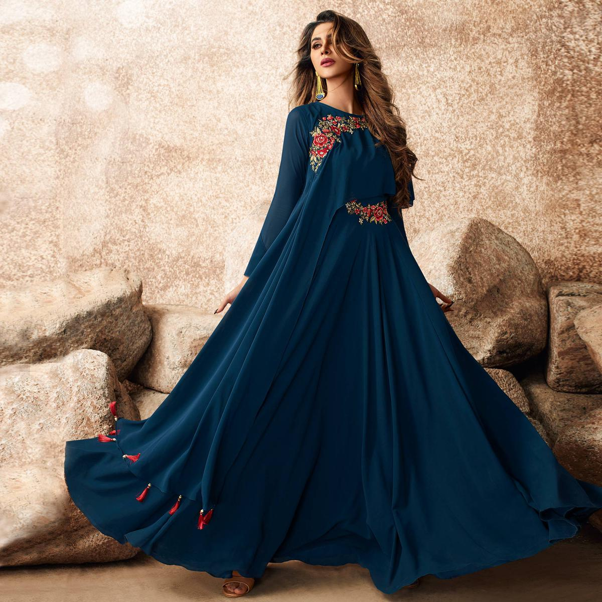 Elegant Blue Colored Designer Partywear Embroidered Georgette Gown