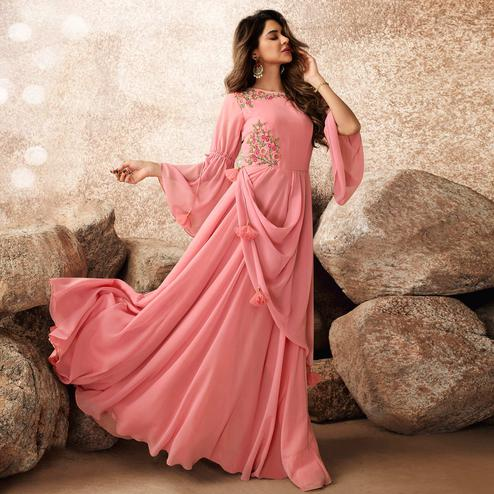 Energetic Pink Colored Designer Partywear Embroidered Georgette Gown