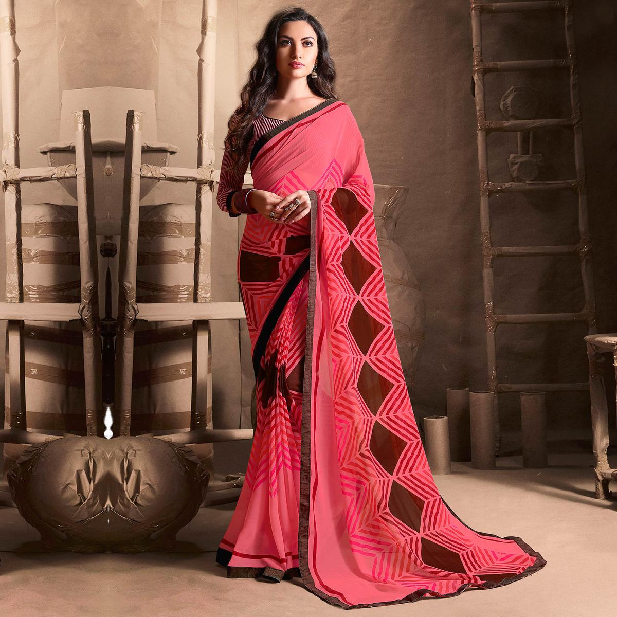 Adorable Peach Designer Digital Printed Georgette Saree