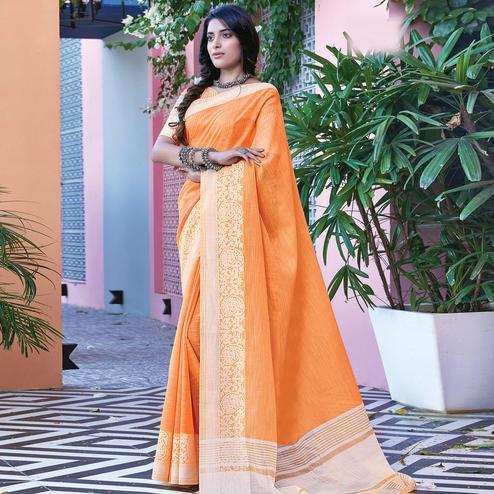 Mesmeric Orange Colored Festive Wear Woven Linen Cotton Saree