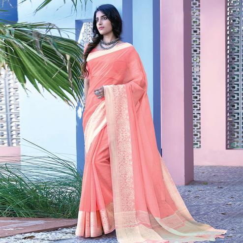 Demanding Light Peach Colored Festive Wear Woven Linen Cotton Saree