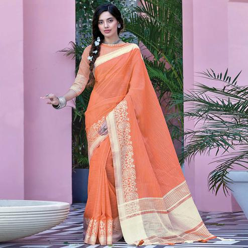 Refreshing Orange Colored Festive Wear Woven Linen Cotton Saree