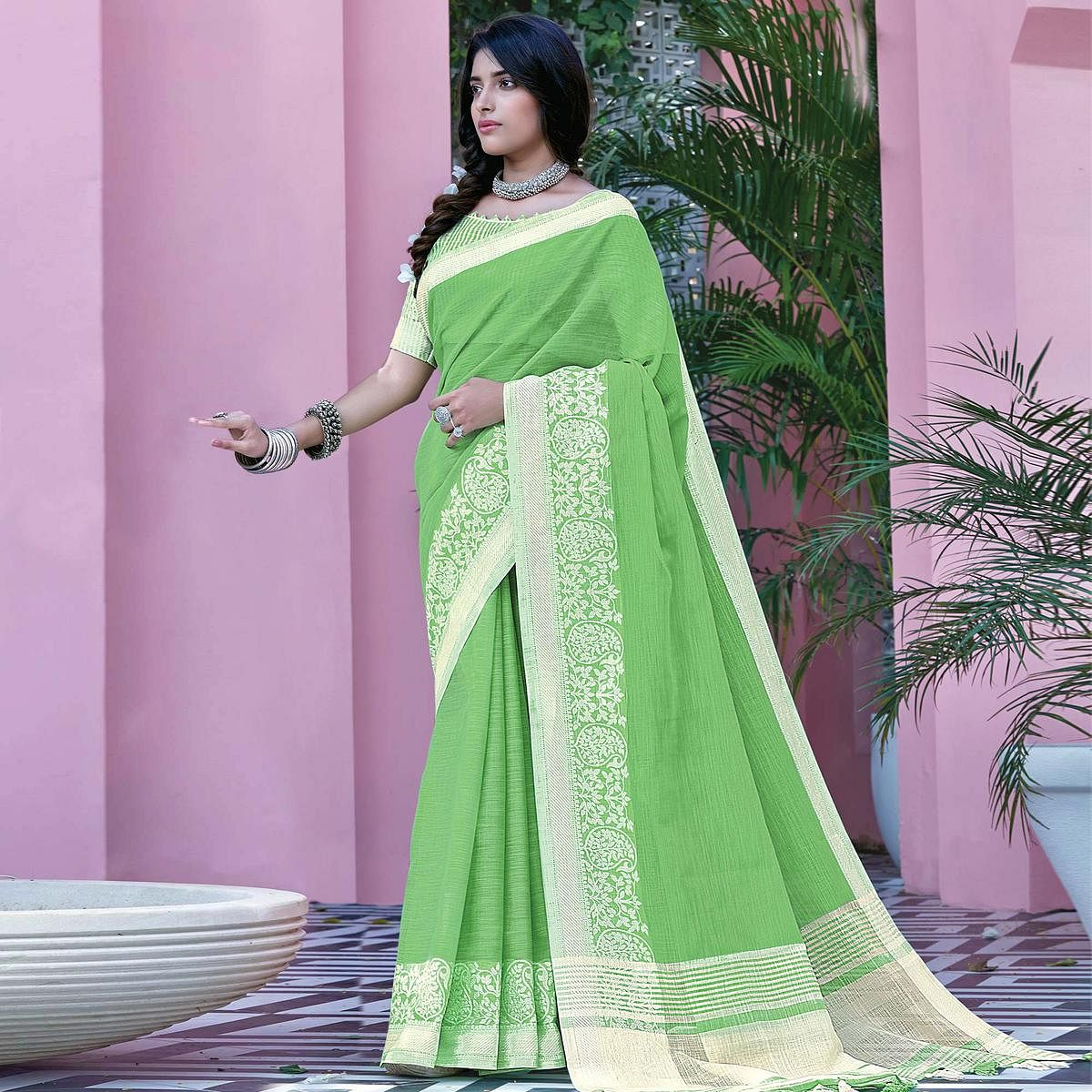 Magnetic Parrot Green Colored Festive Wear Woven Linen Cotton Saree