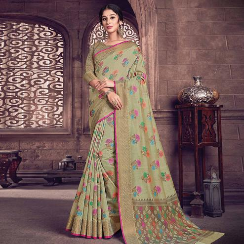Flattering Olive Green Colored Festive Wear Woven Handloom Silk Saree