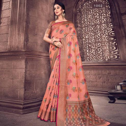 Excellent Peach Colored Festive Wear Woven Handloom Silk Saree
