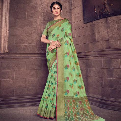 Preferable Green Colored Festive Wear Woven Handloom Silk Saree