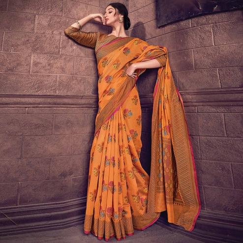 Marvellous Orange Colored Festive Wear Woven Handloom Silk Saree