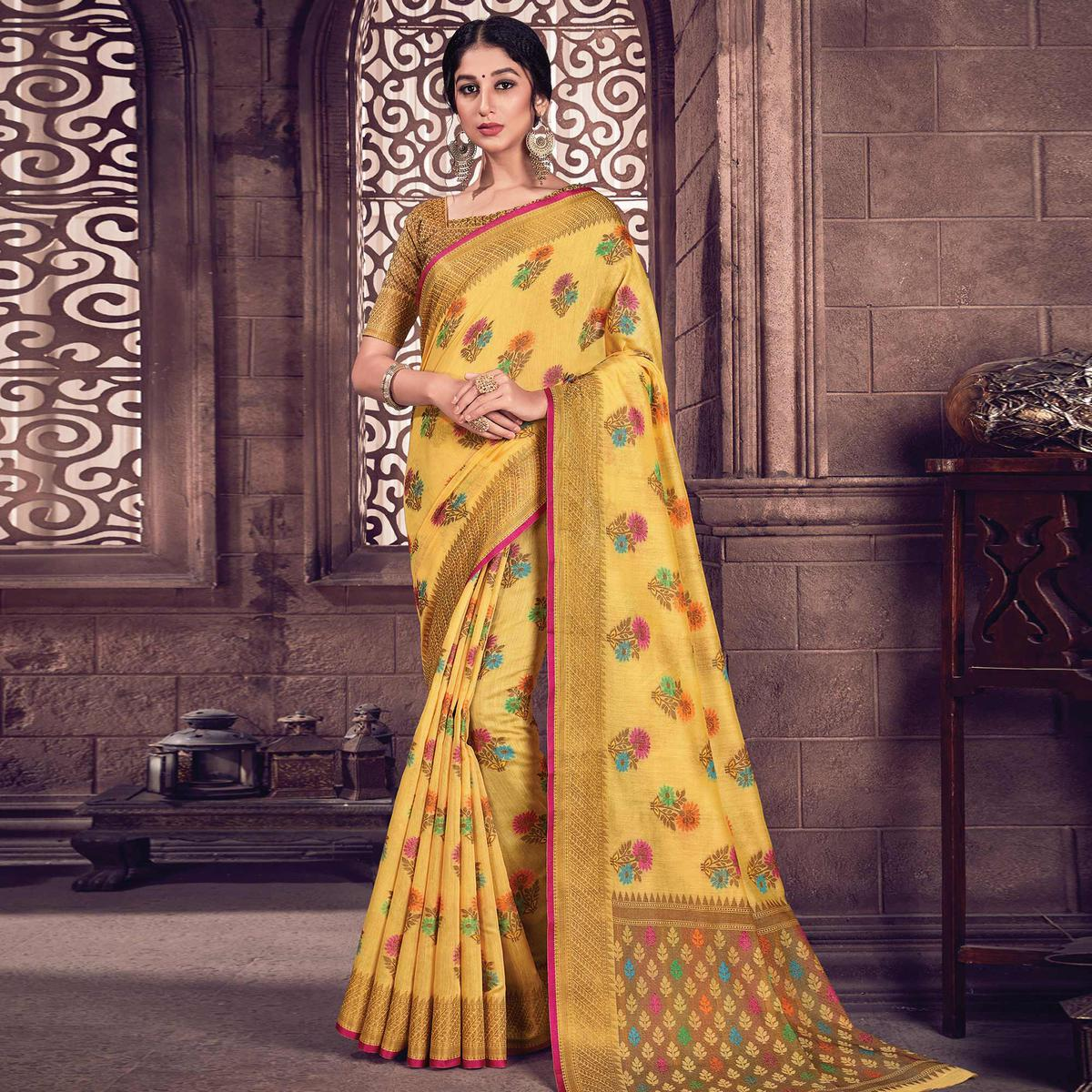 Flamboyant Yellow Colored Festive Wear Woven Handloom Silk Saree