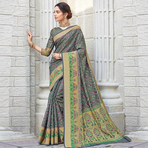 Alluring Grey Colored Festive Wear Woven Patola Silk Saree