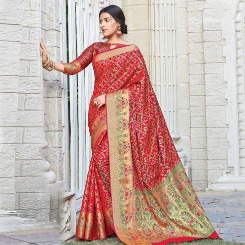 Sensational Red Colored Festive Wear Woven Patola Silk Saree