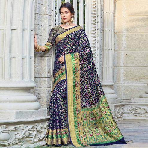 Flirty Navy Blue Colored Festive Wear Woven Patola Silk Saree