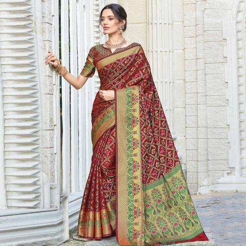 Classy Maroon Colored Festive Wear Woven Patola Silk Saree
