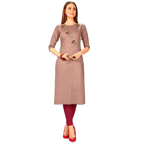 Arresting Mauve Colored Party Wear Embroidered Jam Cotton Silk Kurti