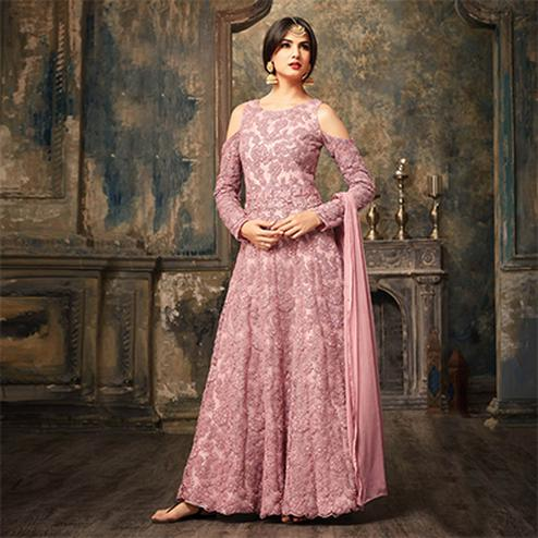Pink Floral Embroidered Work Net Anarkali Suit