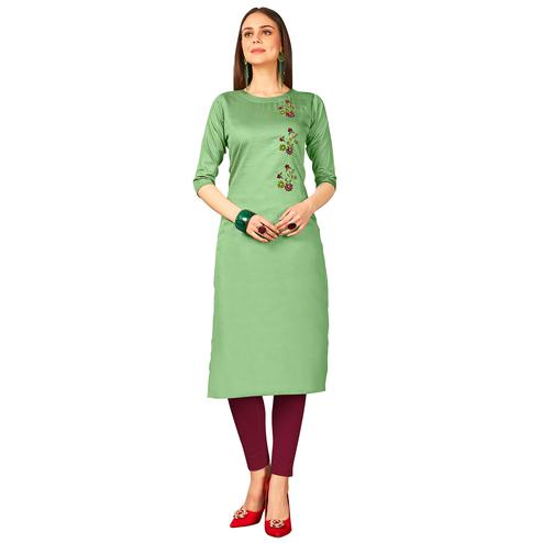 Desirable Green Colored Party Wear Embroidered Jam Cotton Silk Kurti