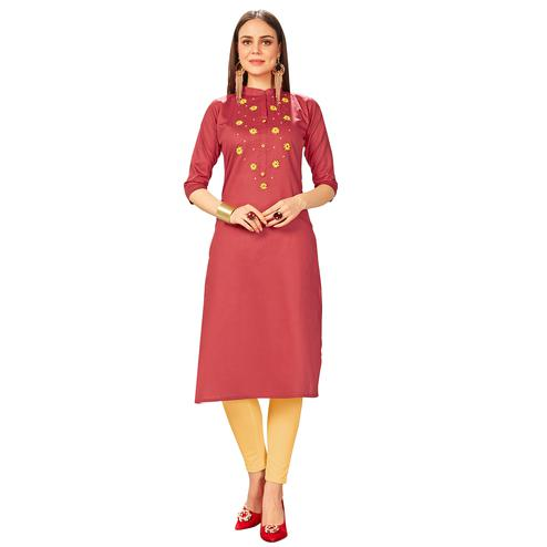 Exotic Red Colored Party Wear Embroidered Jam Cotton Silk Kurti