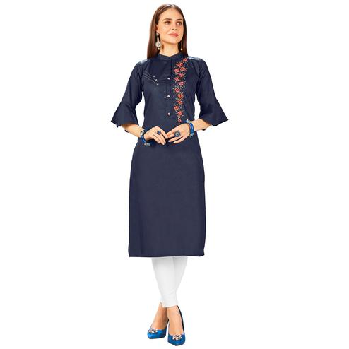 Elegant Navy Blue Colored Party Wear Embroidered Jam Cotton Silk Kurti