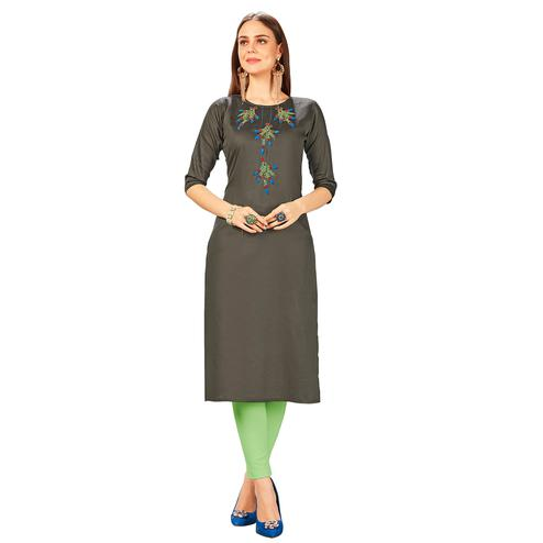 Radiant Grey Colored Party Wear Embroidered Jam Cotton Silk Kurti