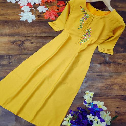 Classy Yellow Colored Party Wear Embroidered Cotton Kurti