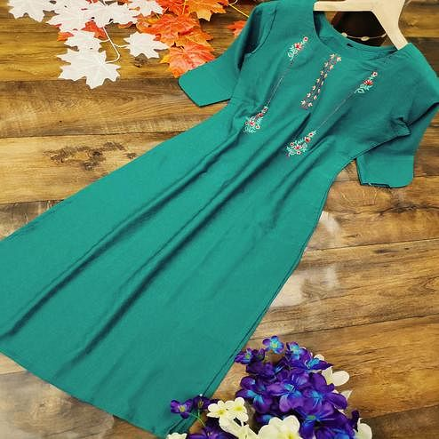 Prominent Dark Green Colored Party Wear Embroidered Cotton Kurti
