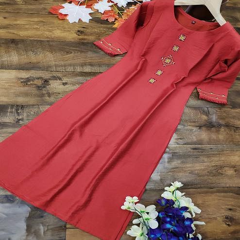 Appealing Red Colored Party Wear Embroidered Cotton Kurti