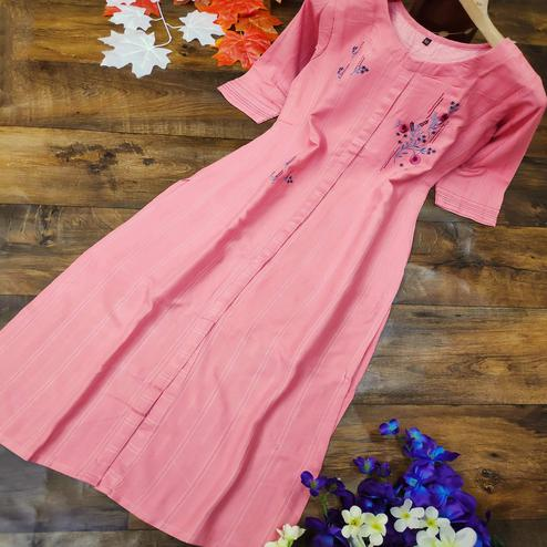 Entrancing Pink Colored Party Wear Embroidered Cotton Kurti