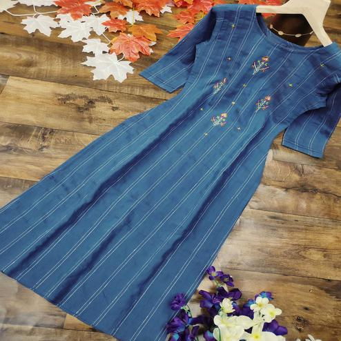 Adorning Blue Colored Party Wear Embroidered Cotton Kurti