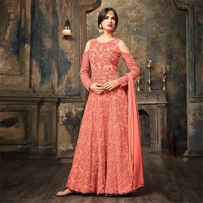 Peach Floral Embroidered Work Net Anarkali Suit