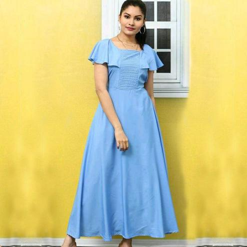 Exotic Sky Blue Colored Casual Wear Solid Crepe Long Kurti