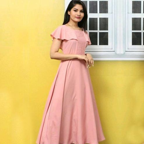 Trendy Peach Colored Casual Wear Solid Crepe Long Kurti