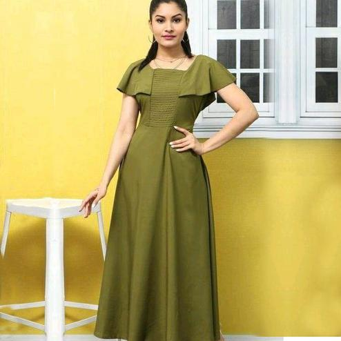 Elegant Olive Green Colored Casual Wear Solid Crepe Long Kurti
