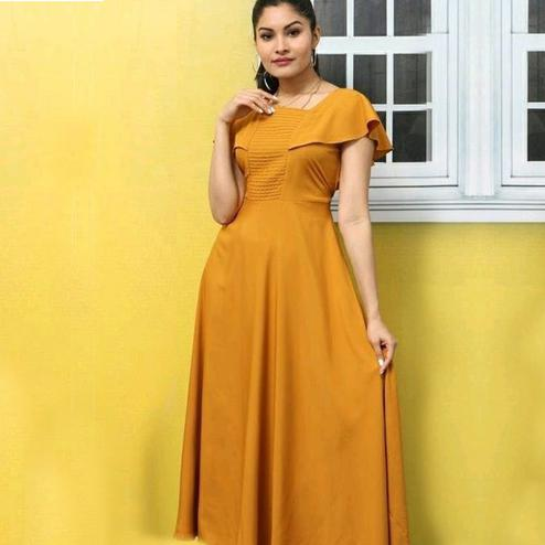 Radiant Orange Colored Casual Wear Solid Crepe Long Kurti