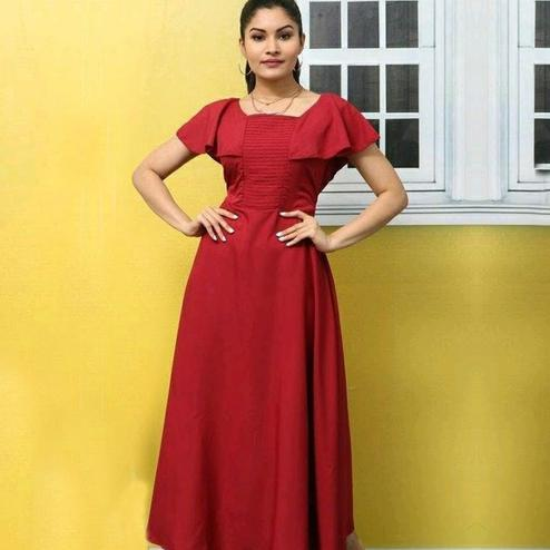 Pleasant Red Colored Casual Wear Solid Crepe Long Kurti
