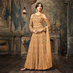 Golden Yellow Floral Embroidered Work Net Anarkali Suit